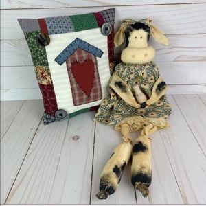 Other - Country Cottage Home Decor Milk Cow & Mini Pillow